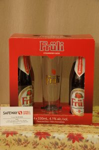 4 Bottles of Fruli Strawberry Beer & Beer Glass