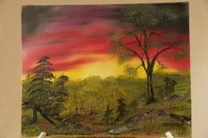 Forest Sunset Painting