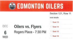 4 Oiler Tickets vs. Flyers December 6 Section 121 Row 11